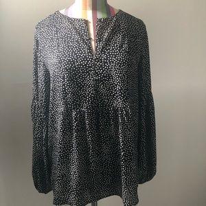 Loft small blk/white polka dot blouse